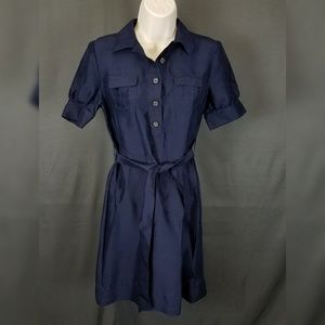3 for $10- navy belted silk dress